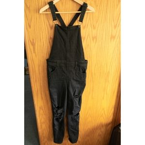 Black Skinny Distressed Overalls